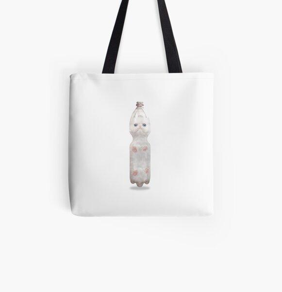 Flaschenpost PET PET CAT, süße, weiße, blauäugige Katze im Lockdown 2020 Meme Allover-Print Tote Bag