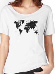 Black & White World Map Women's Relaxed Fit T-Shirt
