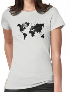 Black & White World Map Womens Fitted T-Shirt
