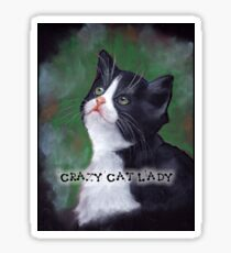 Crazy Cat Lady, Painting of Cat Looking Up Sticker