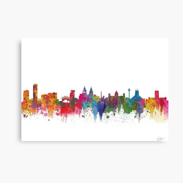 Liverpool seafront city line skyline waterfront watercolour colours colour splash by Evangelos Kofinakos Canvas Print