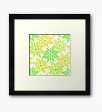 Seamless floral pattern with cute cartoon green neon flowers on light background Framed Print