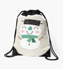 Vintage Snowman on snowing background Drawstring Bag