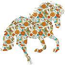 Colorful retro flowers horse illustration by artonwear