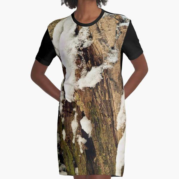 Rotten tree stump in the first snow Graphic T-Shirt Dress