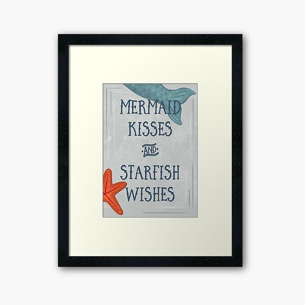 Mermaid Kisses & Starfish Wishes | Bathroom Art Framed Art Print