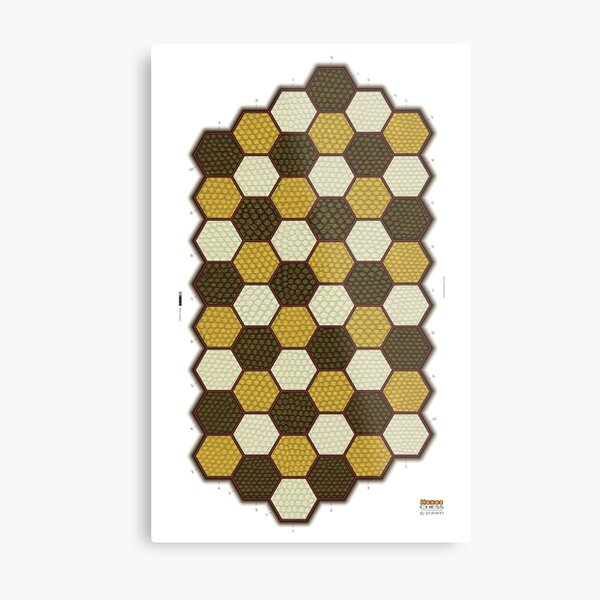 Hexes 6-Pawn Chess Board Metal Print