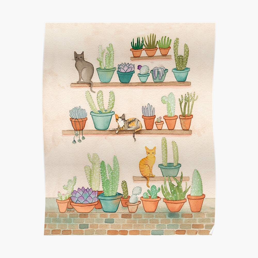 Cats and Cacti Poster