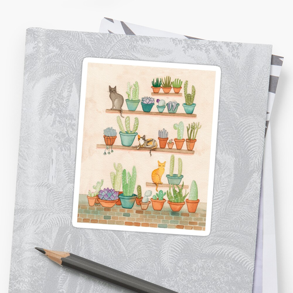 Cats and Cacti Sticker