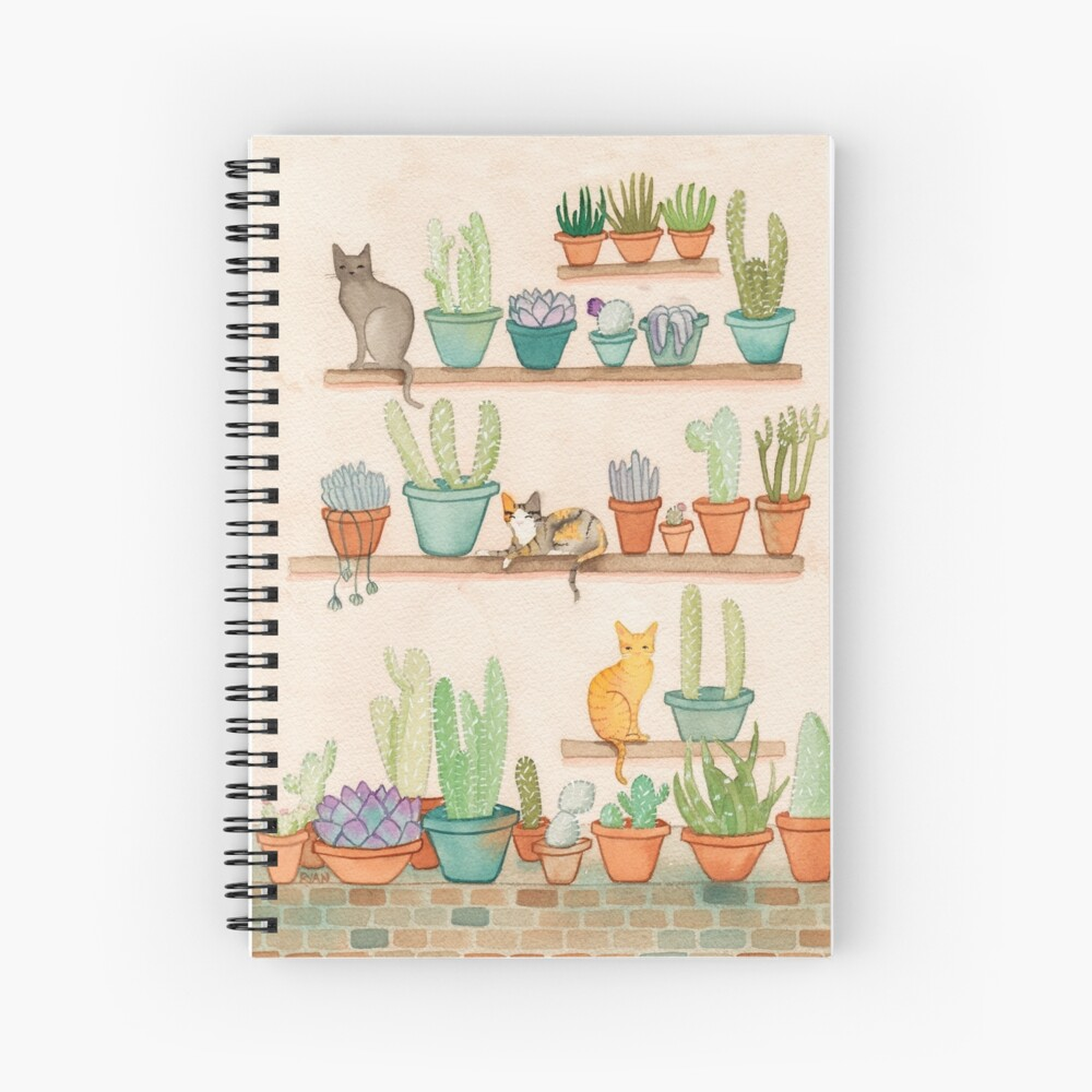Cats and Cacti Spiral Notebook