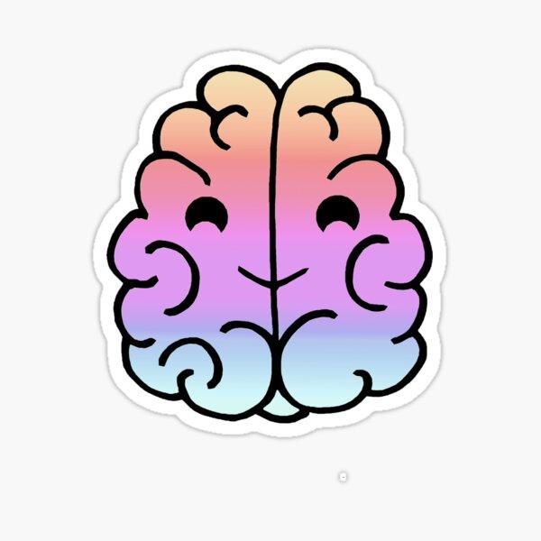 Rainbow Neurodiversity Brain Cartoon Sticker