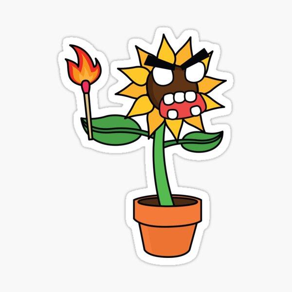 angry zombie sunflower Sticker
