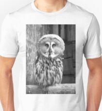 Monochrome Great Grey Owl Unisex T-Shirt