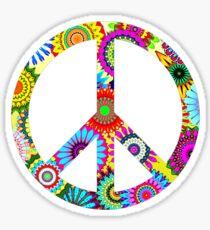 Peace Sign Cool Retro Flowers Design Sticker