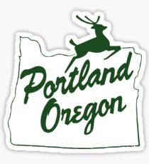 Pegatina Portland Oregon Inicie sesión en verde