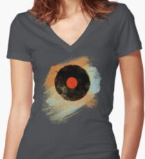 Vinyl Record Retro T-Shirt - Vinyl Records Modern Grunge Design Women's Fitted V-Neck T-Shirt