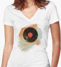 Vinyl Record Retro T-Shirt - Vinyl Records Modern Grunge Design Women's Fitted V-Neck T-Shirt