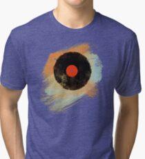 Vinyl Record Retro T-Shirt - Vinyl Records Modern Grunge Design Tri-blend T-Shirt