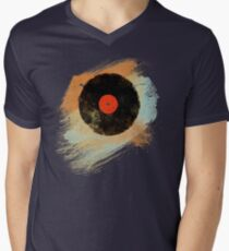 Vinyl Record Retro T-Shirt - Vinyl Records Modern Grunge Design Men's V-Neck T-Shirt