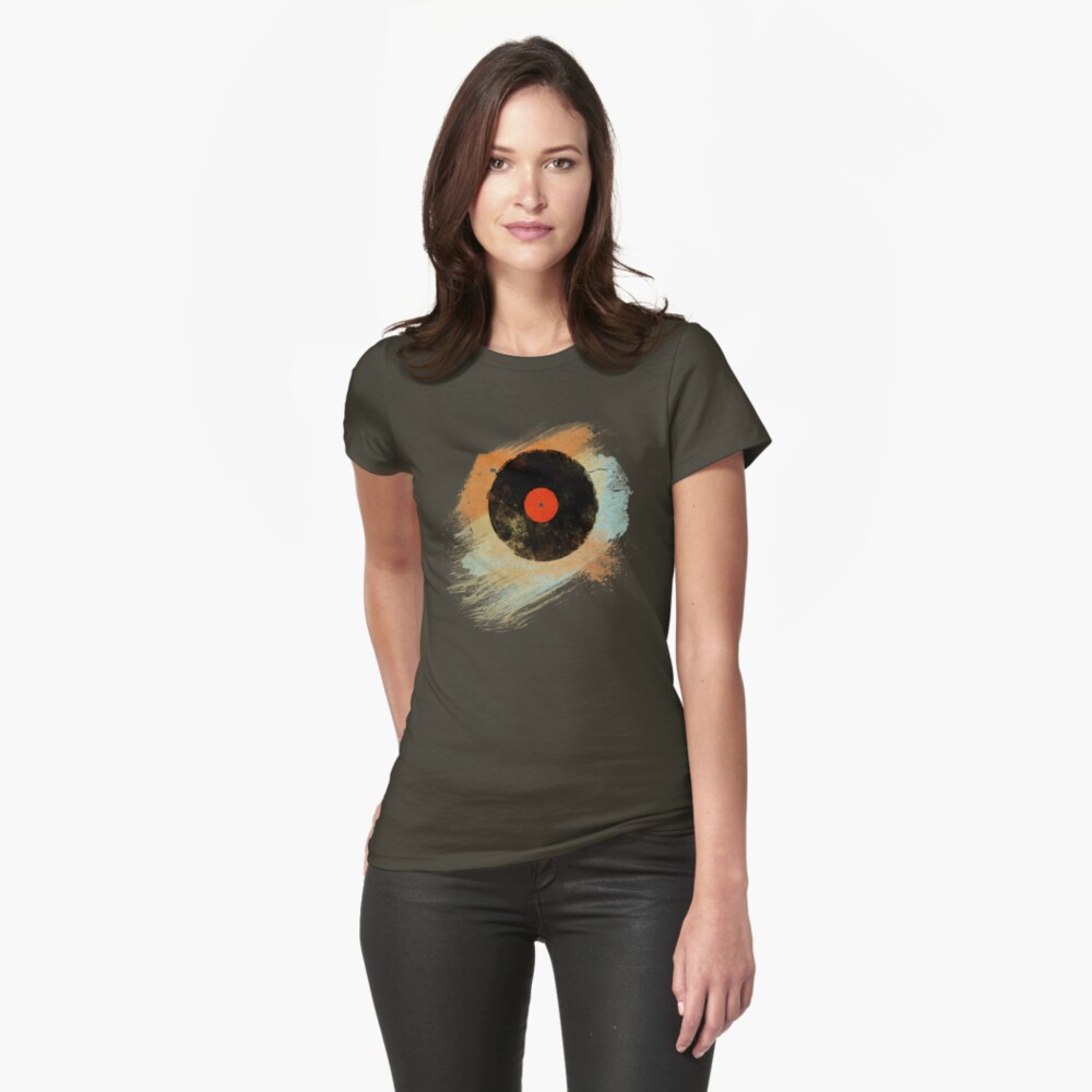 Vinyl Record Retro T-Shirt - Vinyl Records Modern Grunge Design Womens T-Shirt Front