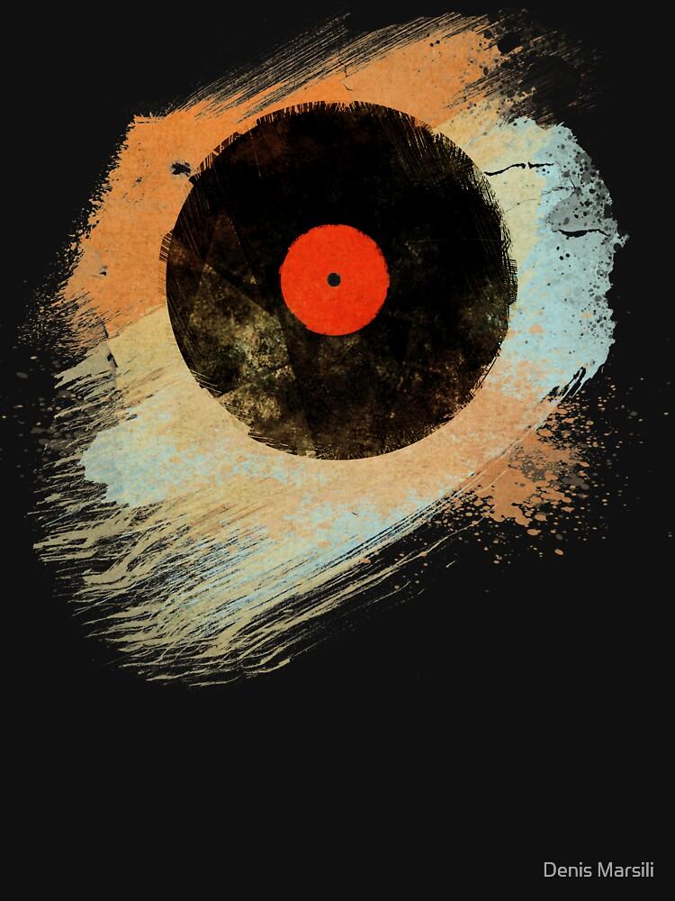Vinyl Record Retro T-Shirt - Vinyl Records Modern Grunge Design by ddtk