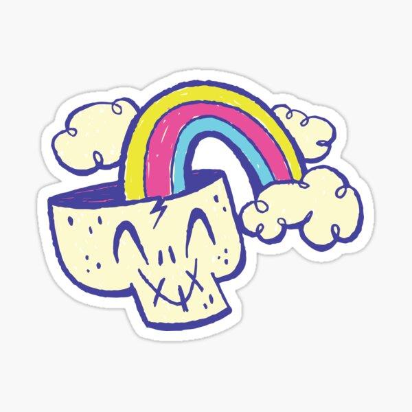 Rainbow Skull Cartoon Mod Sticker