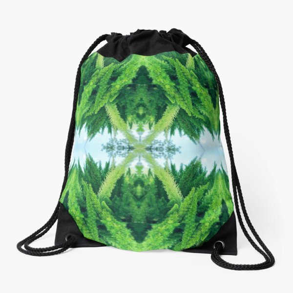 Winter Greenery Drawstring Bag