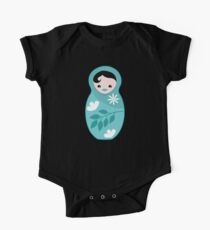 Aqua blue babushka doll One Piece - Short Sleeve