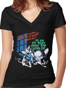 Pinky and Brain Take over The world Women's Fitted V-Neck T-Shirt