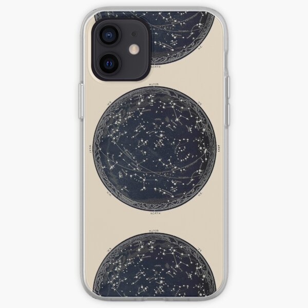 Antique Map of the Night Sky, 19th century astronomy iPhone Soft Case