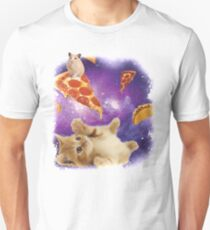 Cat in Space with Pizza and Tacos Unisex T-Shirt