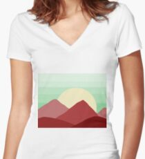 Red Land, Green Skies Women's Fitted V-Neck T-Shirt