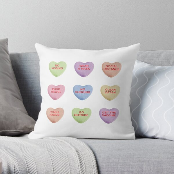 Cute Candy Hearts for Valentine's Day 2021 Stay Healthy Throw Pillow