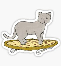 Cat Skateboarding on Pizza Sticker