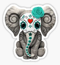 Pegatina Teal Blue Day of the Dead Sugar Skull Baby Elephant