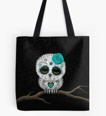 Cute Teal Blue Day of the Dead Sugar Skull Owl Tote Bag