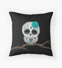 Cute Teal Blue Day of the Dead Sugar Skull Owl Throw Pillow