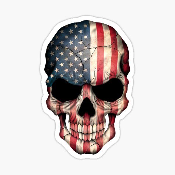 American Flag Skull Sticker