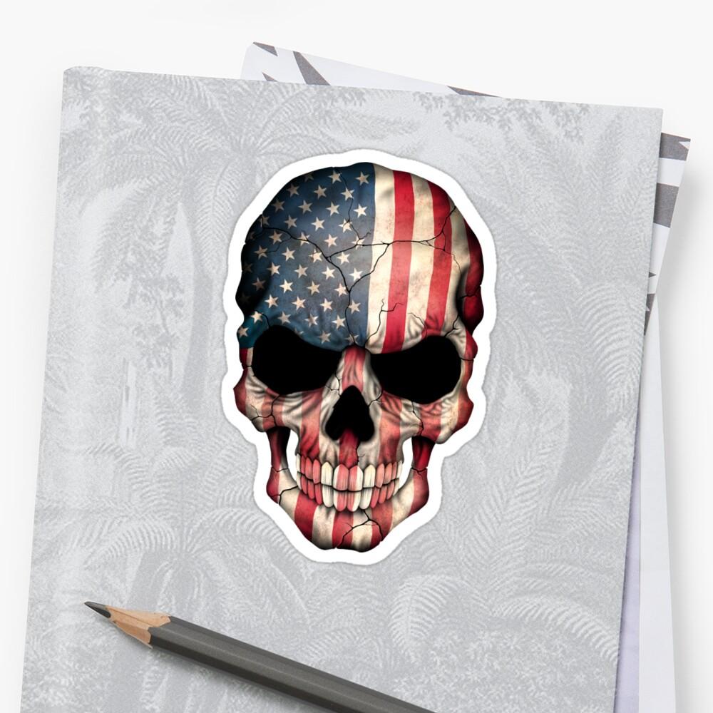 Amerikanische Flagge-Schädel Sticker