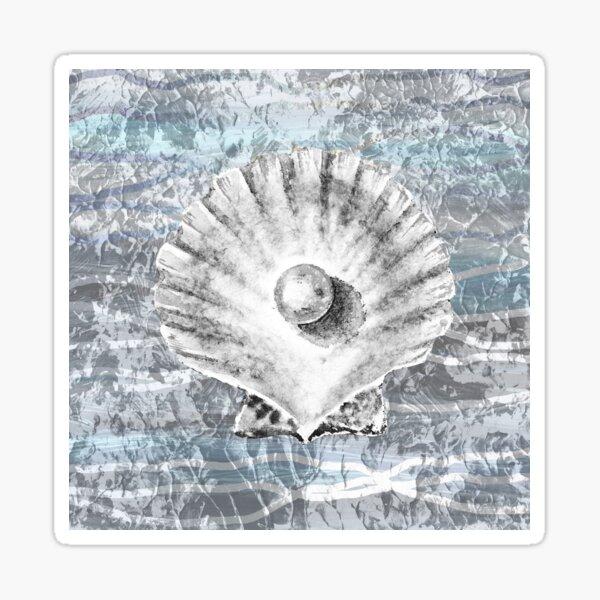 Silver Gray Seashell On Ocean Shore Waves And Rocks V Sticker