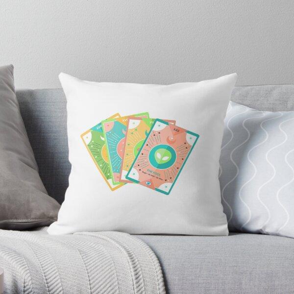 Pastel Alien Tarot Deck (UFO) Throw Pillow