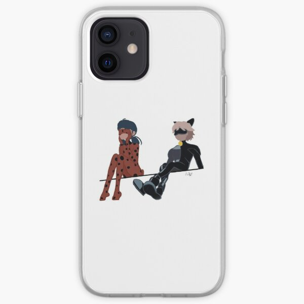 Lady bug and chat noir sitting  iPhone Soft Case