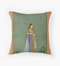 Two portraits of Jahanara and Nadira Banu - Mughal School Throw Pillow