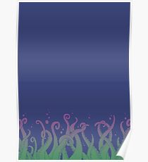 Deep Tentacle Action (purple green) Poster
