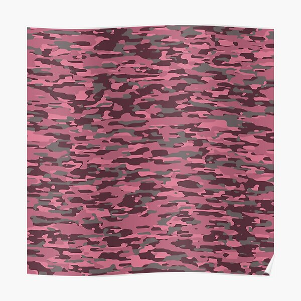 rosybrown, rosewood, oldrose and pink military camouflage pattern Poster