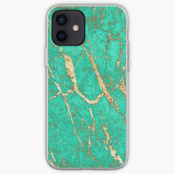 Chic Gold Turquoise Marble Pattern iPhone Soft Case