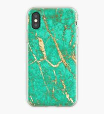 Chic Gold Turquoise Marble Pattern iPhone Case