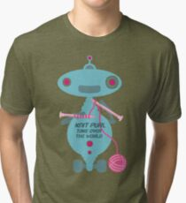 Knit Purl Take Over the World robot knitting needles Tri-blend T-Shirt