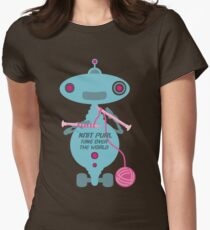 Knit Purl Take Over the World robot knitting needles T-Shirt