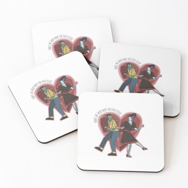 Frankenstein and Bride dancing Coasters (Set of 4)